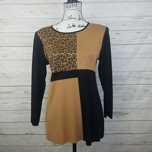 Misook Leopard Colorblock Top